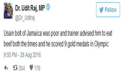 latest-news-usain-bolt-was-poor-eating-beef-helped-him-win-nine-medals-in-olympics-bjp-mp-udit-raj