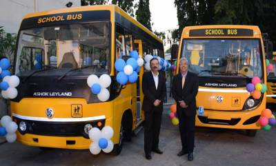 business-ashok-leyland-launches-its-next-generation-school-bus-sunshine-and-new-mitr-in-bengaluru