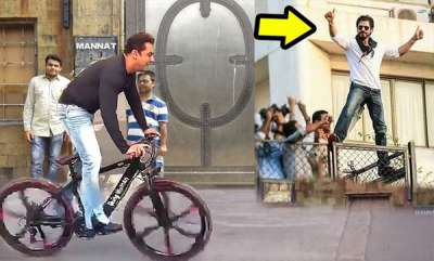 latest-news-salman-khan-in-front-of-shah-rukh-khans-house-on-cycle