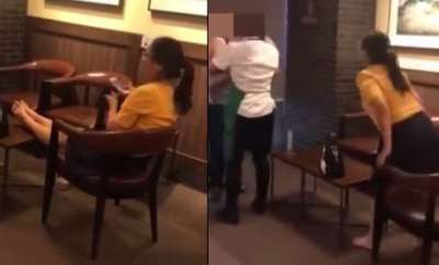 odd-news-woman-puts-her-bare-feet-up-on-table-at-starbucks-spits-at-man-who-tries-to-stop-her