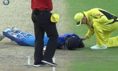 sports-news-close-shave-for-hardik-pandya-as-bhuvneshwar-kumar-shot-floors-him