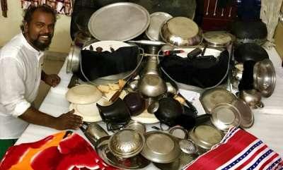 latest-news-davinchi-suresh-creates-mohanlals-caricature-with-plates