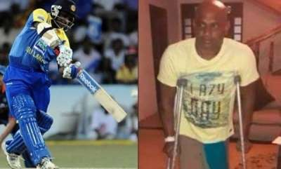 sports-sri-lankan-legend-sanath-jayasuriya-unable-to-walk-without-crutches