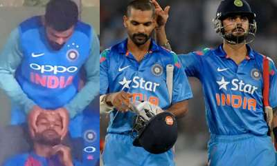 sports-news-injured-virat-kohli-gives-head-massage-to-shikhar-dhawan-during-3rd-t20i