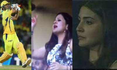 sports-news-ipl-2018-ms-dhoni-hits-flurry-of-sixes-watch-wife-sakshi-anushka-sharmas-reaction
