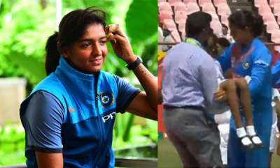 sports-news-harmanpreet-kaur-makes-sure-the-ill-mascot-is-in-safe-hands-after-the-national-anthem