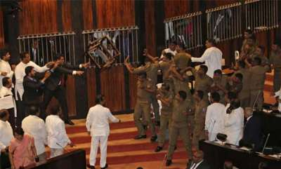 latest-news-commotion-in-sreelankan-parliament