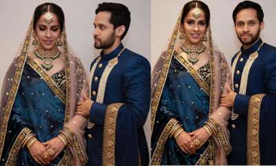 sports-news-saina-nehwal-and-parupalli-kashyaps-first-look-at-their-wedding-reception-in-hyderabad