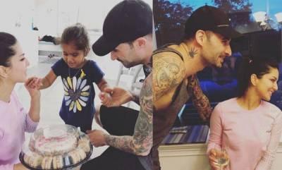 latest-news-sunny-leone-daniel-webers-daughter-nisha-prepares-cake-for-their-wedding-anniversary