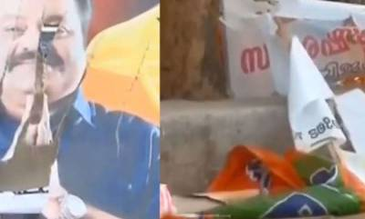 latest-news-thrissur-nda-candidate-suresh-gopis-posters-and-banners-destroyed