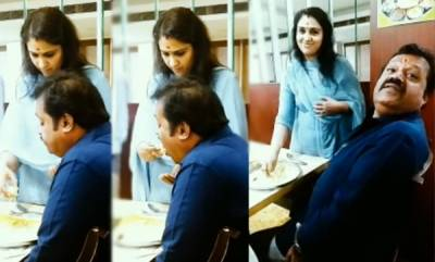 odd-news-radhika-suresh-gives-food-to-suresh-gopi