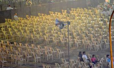 latest-news-empty-chairs-during-the-rally-of-minister-rajnadh-singh