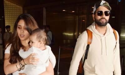 sports-news-rohit-sharma-returns-to-india-with-wife-ritika-sajdeh-and-daughter-samaira