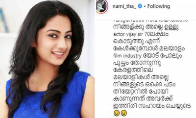 entertainment-namita-pramod-gives-befitting-reply-to-man-over-kerala-flood-relief