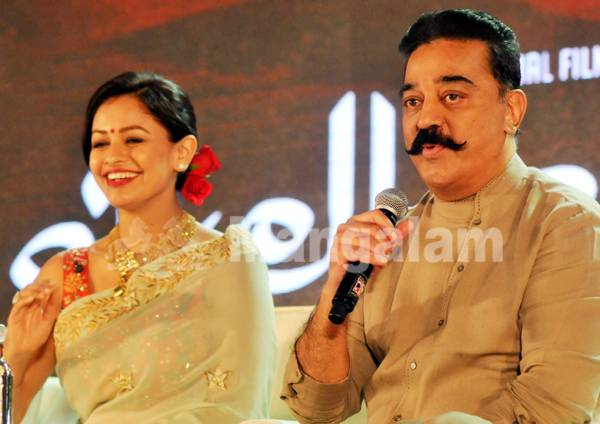 Kamal Hassan and Pooja Kumar during the promotional events of 'Viswaroopam 2  ' in Kochi