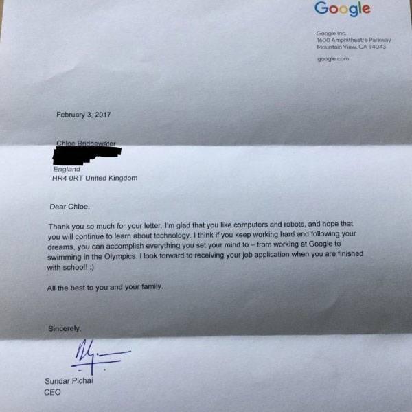 google, sunder pichai, 7-year-old girl