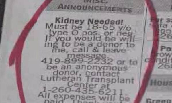Kidney required' advertisements banned | 'Kidney required