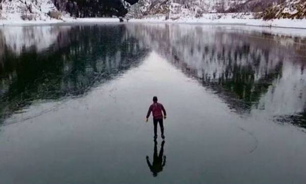 Drone Footage,  Ice Skater,  Frozen Dam