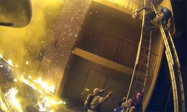 fireman, burning building
