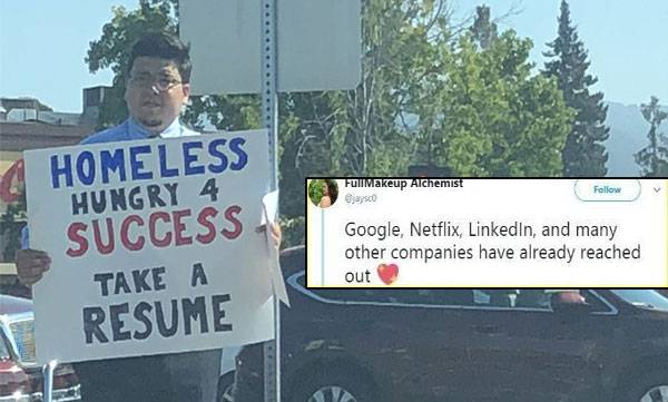 homeless man distributes resume for a job get offers from google