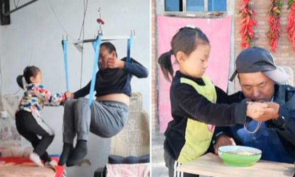 6-year-old girl,  Paralysed father