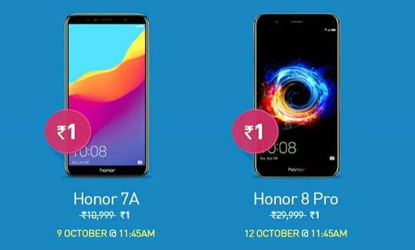 Honor Dussehra Sale: Two smartphones including Honor 8 Pro priced at Rs 29,999 available at just Re 1