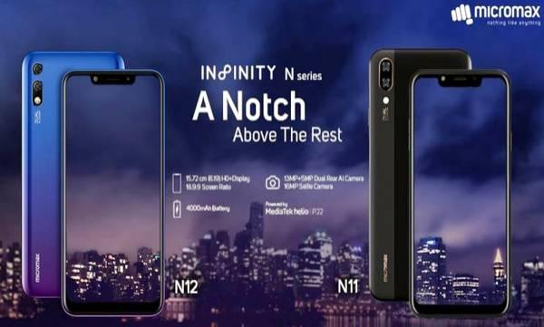 micromax launches infinity n12 n11 series