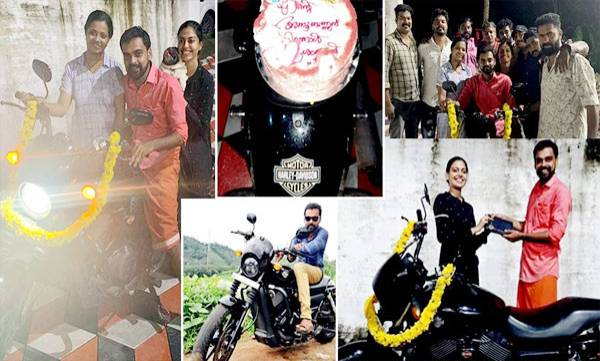 actress anusree gifted her brother a harley davidson street 750